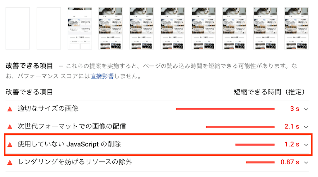 PageSpeed Insightsの結果