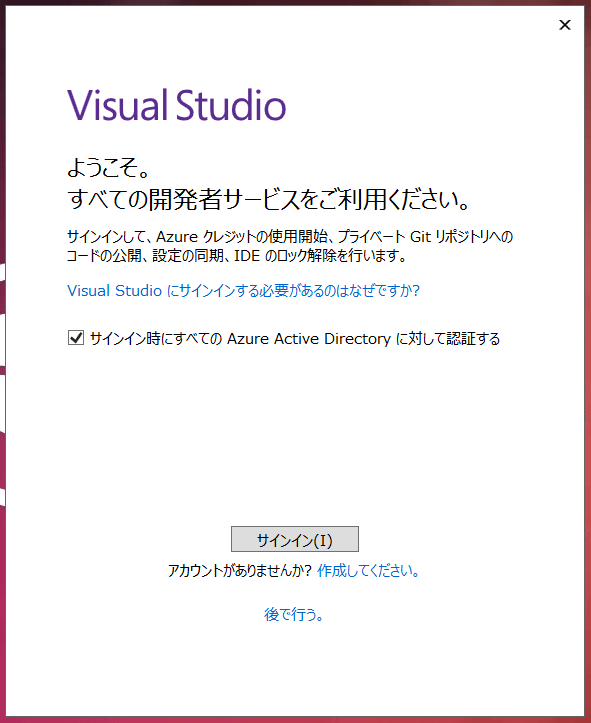 Visual Studio起動時